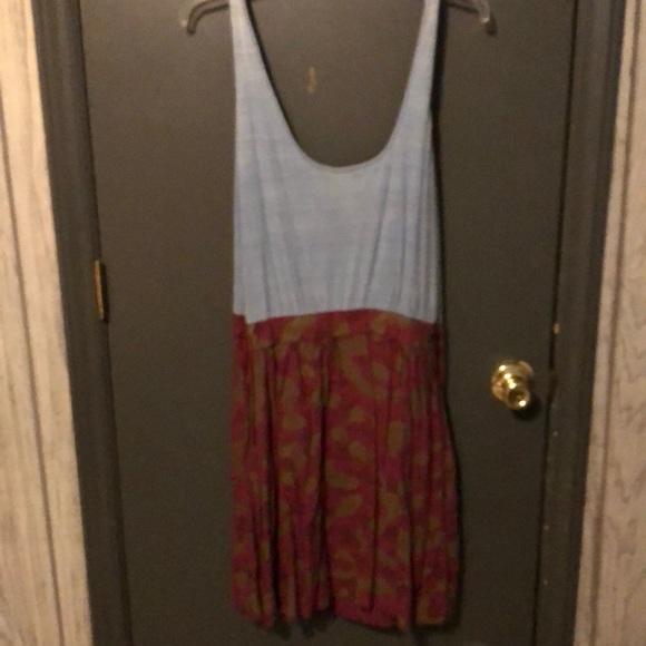 Obey Dresses & Skirts - Light blue and burgundy dress